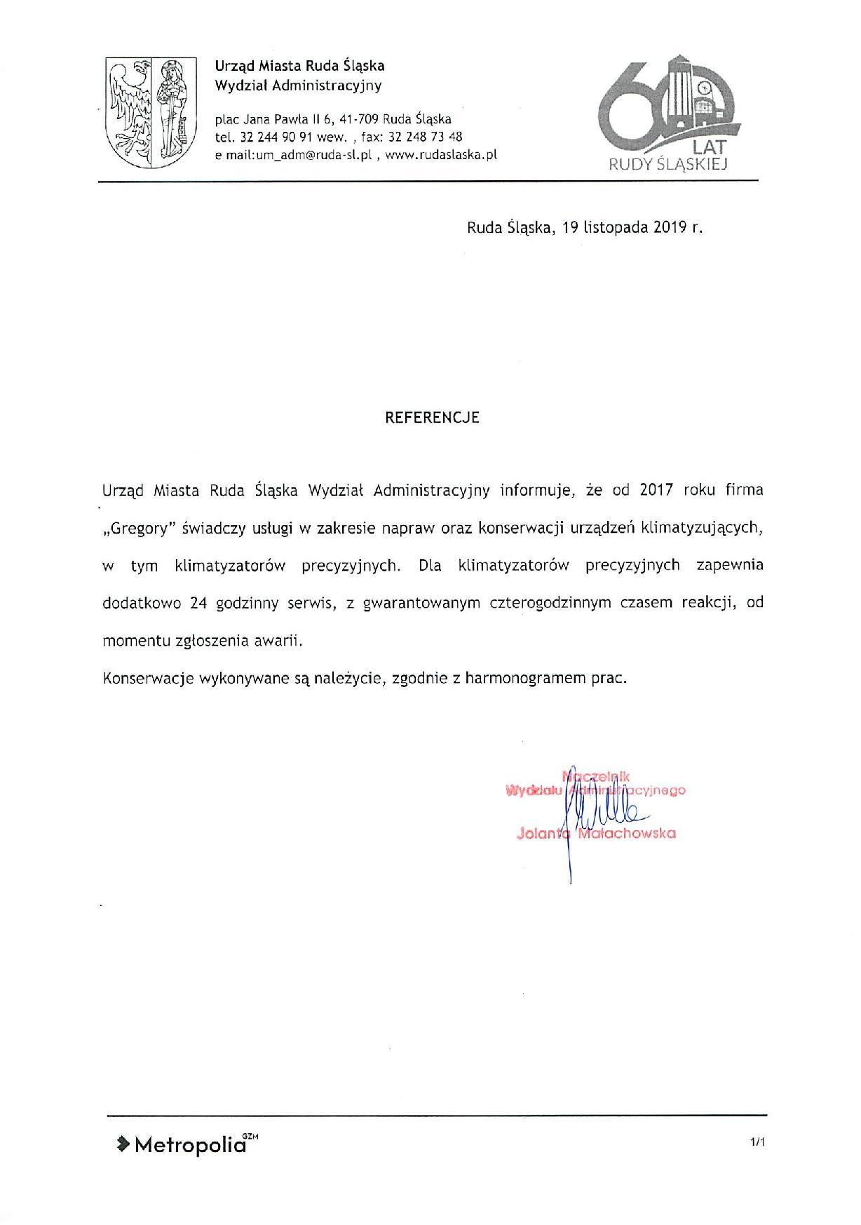 Urząd Miasta Ruda Śląska referencje